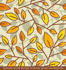 Seamless autumn leaf pattern for backgrounds, banners, print designs. Vector illustration.