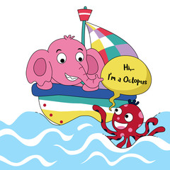 cute elephant and little octopus meet in the ocean