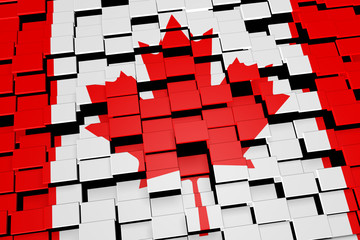 Canada flag background formed from digital mosaic tiles, 3D rendering