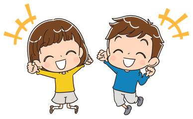 ジャンプする子どもたちのイラスト