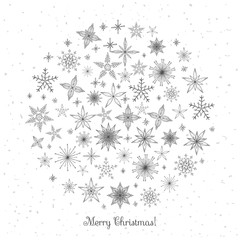 Hand drawn doodle Christmas  snowflakes and stars icons set. Sketchy vector illustration elements. Blue background, holiday Holly decoration calligraphy Merry Christmas and Happy New Year