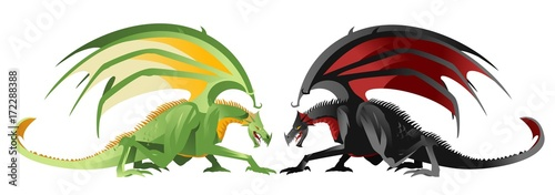 giand green and black dragons