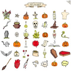 Hand drawn doodle Happy Halloween icons set. Vector illustration. Holiday symbols collection. Cartoon various sketch elements: pumpkin, ghost, castle, bat, candy, witches cauldron, zombie hand, skull