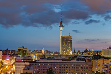 The famous Television tower and downtown Berlin at dusk