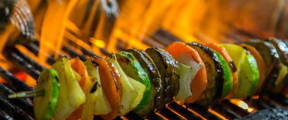 kebab vegetables cooked spicy skewers