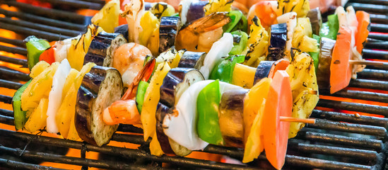 Barbecue Grill cooking vegetable.