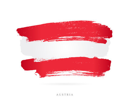 Flag of Austria. Brush strokes