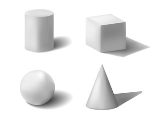 3d geometric shapes on isolated white background
