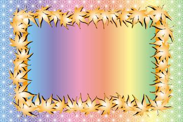 背景素材,写真枠,フォトフレーム,日本,秋,紅葉,和風イメージ,模様,和柄,もみじ,いちょう,かえで