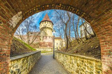 Wall Mural - Medieval defense wall and The Carpenters' Tower in Sibiu city, Transylvania region, Romania.
