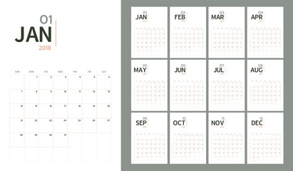 Vector of 2018 new year calendar in modern table simple design style and pastel organic tone color,Holiday event planner,Week Starts Sunday,A5 size