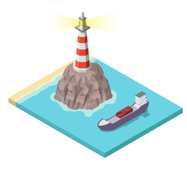 Isometric lighthouse on rock and ship vector