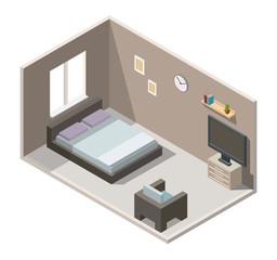 Bedroom and home cinema interior isometric