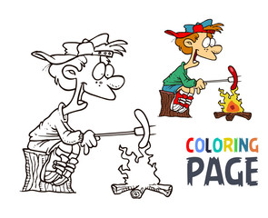 people and hot dogs cartoon coloring page
