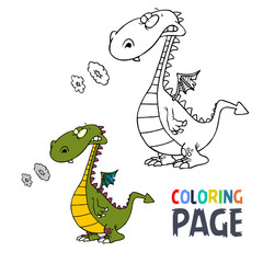 Dinosaur cartoon coloring page