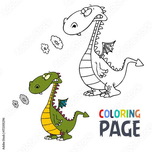 Dinosaur cartoon coloring page