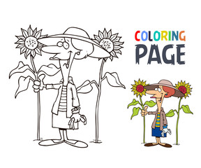 grandmother and sunflower cartoon coloring page