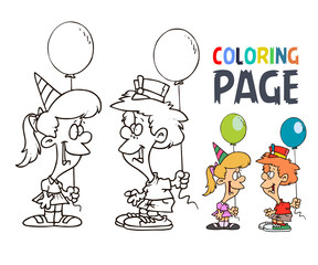 kids  party with balloon cartoon coloring page