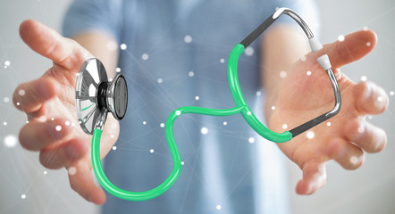 Businessman holding and touching floating stethoscope 3D rendering