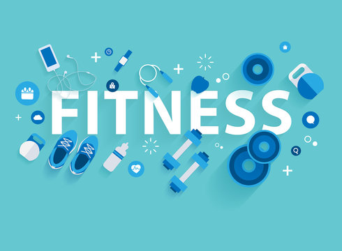 Fitness concept workout with equipment. Vector illustration modern layout template flat design