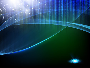Abstract dark background. Flashing particles fly through dark space. Science illustration of bigdata computing. Vector illustration.