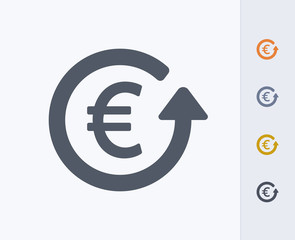 Euro & Return Arrow - Carbon Icons. A professional, pixel-aligned icon designed on a 32 x 32 pixel grid and redesigned on a 16 x 16 pixel grid for very small sizes.