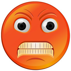 Fuming red angry emoji vector image