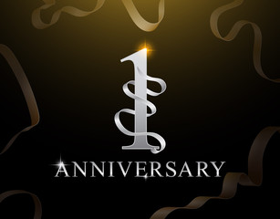 1 year anniversary celebration logotype template. 1st logo with ribbons on black background. Gold anniversary design.