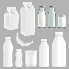 Vector realistic creative milk packaging design set
