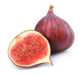 Figs fruits isolated on white. Clipping Path