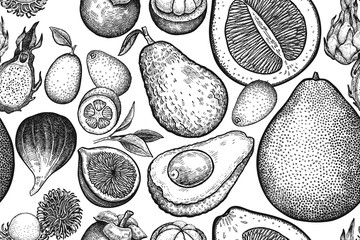 Seamless vector pattern with exotic fruits.