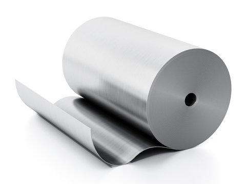 Aluminum sheet roll isolated on white background. 3D illustration