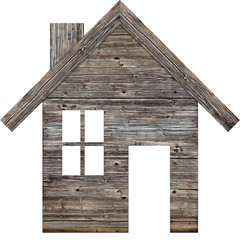 Icon of a wooden house on a white background