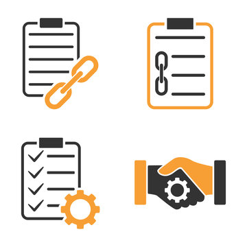 Blockchain Smart Contract vector icon set. Style is bicolor flat symbols.
