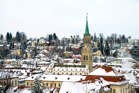 Covered in snow Cathedral in St Gallen, Switzerland