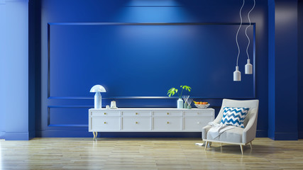 Luxury modern living  interior,blue room ,white  lounge chair with white lamp and white sideboard on wood floor /3d render