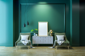 Luxury modern living  interior,Green room ,white  lounge chair with gold lamp and white sideboard on wood floor /3d render