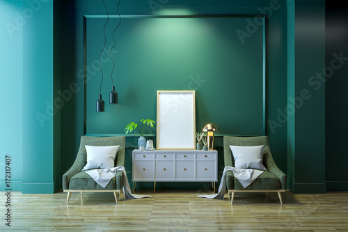 Luxury modern living interior,Green room ,white lounge chair ...
