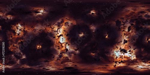 Deep space, stars and nebula, 360 degrees panorama, HDRI