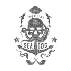 Deep Fear monochrome emblem