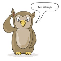 cute owl listening