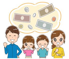 お金と家族のイラスト