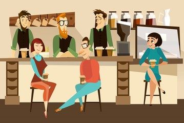 Coffee bar concept vector illustration in flat style