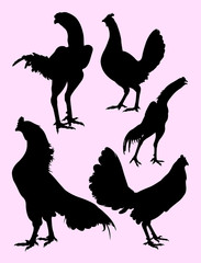 Roosters gesture silhouette 08. Good use for symbol, logo, web icon, mascot, sign, or any design you want.