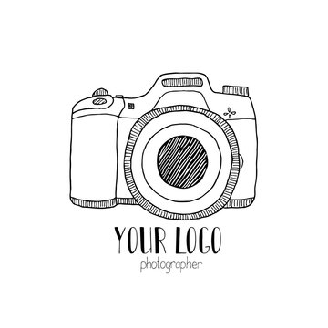 Sketch of a photo camera drawn by hand
