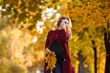 Pregnant woman in the yellow maple park in leaves