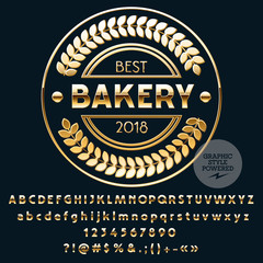 Vector Golden Logo Template for Best Bakery. Luxury set of Letters, Numbers, Symbols. Graphic Style Font