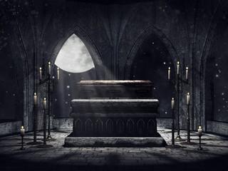 Krypta wampira ze świecami i blaskiem księżyca
