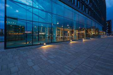 Exterior of modern glass building