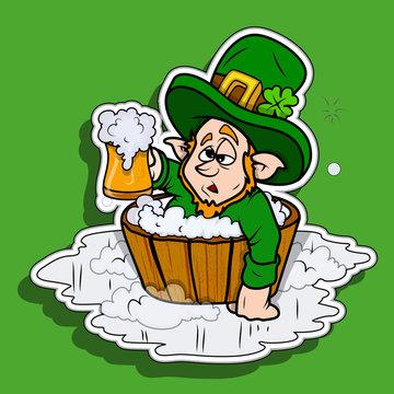 Drunk Leprechaun with Beer - Patrick's Day Sticker